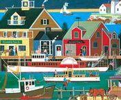 ART - Folk art (American) / Favorite folk art scenes / More folk art on my boards dedicated to Cheryl Bartley, Mary Charles, Donna Lacey Derstine, Colleen Eubanks, Bob Fair, Medana Gabbard, Kim Leo, and Linda Nelson Stocks.