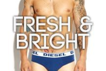Diesel Fresh & Bright At BANG+STRIKE / Diesel's poppy, superhero-inspired Fresh & Bright range has been developing over the last few years to become a firm favourite at BANG+STRIKE with its simple but bold design and quality of build. A flash of colour peeking out above jeans or trousers adds fun and goes with any look.  Branching out from the classic block colour briefs and boxers to colourful striped designs, jocks, and moodier, dark waistbands - the collection is a must in any guy's wardrobe.