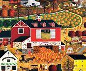 ART - Folk Art  (Fall) / Favorite fall scenes by various folk artists