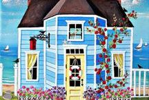 ARTIST - Leo, Kim / Collection of folk art by Kim Leo, a favorite of mine. Just can't get enough of her cottages, villages, and seascapes.