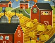 ARTIST - Charles, Mary / Mary Charles is one of my favorite folk artists. Her signature style is folk art with a touch of whimsy. She lives in the countryside surrounded by Amish community, and her colorful palette is inspired by the array of fabrics that the Amish use in their clothing and quilts.