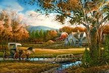 """ARTIST - Redlin, Terry / """"I wanted to tell stories with my paintings, to remember the experiences of my youth, and to imagine and capture forever events that have been related to me by older folks I have had the pleasure of knowing. America's rural past, in my eyes, was a wonderful place full of both beauty and opportunity. How fortunate I've been to spend my life creating memories of those distant times for others to enjoy."""" —Terry Redlin (1937-2016)"""