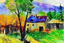 """ARTIST - Ledent, Pol / Pol Ledent, a Belgian self-taught artist, born 1952. """"I paint the landscapes of the countryside where I am living, the southern part of Belgium. What people like most in my paintings are the colours. My art doesn't speak to the intellect but to the soul and to the feelings. Taking the risk to seem old fashioned , I would say it is rather romantic. I wish you much pleasure looking at my paintings."""""""