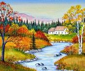 ARTIST - Mark, Sharon / A self-taught artist, Sharon Mark enjoys painting tranquil country scenes around southwest Quebec in a naive style. She is highly influenced by the area around where she lives, the farmlands, apple orchards, old stone houses, historic barns, fields and streams. Her work appears in galleries across Canada.