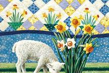 """ARTIST - Barker, Rebecca / Rebecca Barker grew up on her family's dairy farm in Oxford, Ohio. Her childhood appreciation for quilts and country life inspires the subjects she paints today. """"My work is meant to honor the beauty of old time quilt patterns."""""""
