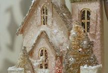 Beautiful Glitter Houses / Putz, Christmas Village / by Beth Robey