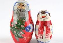 Russian Christmas / Wooden Santas, big hand-blown glass ornaments for the Christmas tree, Santa Clause nesting dolls, Nativity Eggs, and more unique gift ideas.