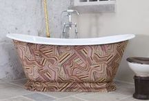 Leather / Fabric Wrapped Cast Iron Baths / At Hurlingham we offer a unique option to wrap our cast iron baths in genuine leather or your choice of fabric. Carefully treated with high grade water repellents, go on make a splash!