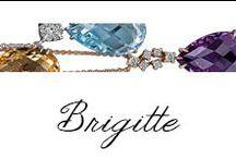 Brigitte / Bibigi | Collana con ciondolo in oro bianco, oro rosa e diamanti, quarzo citrino, topazio azzurro, ametista, quarzo fumè.