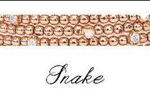 Snake / Sinuosi e brillanti avvolgono dita e polsi. Sono gli anelli e i bracciali della collezione Snake di Bibigì, gioielli a forma di serpente in oro bianco, giallo e rosa impreziositi da diamanti bianchi, brown e rubini.