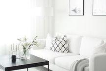 LIVING ROOM INSPIRATION / Decor ideas and inspiration for the living room, Scandinavian, minimal, IKEA living room, sofa, mid-century, white, storage, minimal home decor, home design, wall art