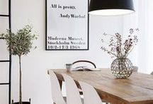 DINING ROOM INSPIRATION / Ideas and inspiration for the dining room. White, Scandinavian dining room, minimal, white, eating spaces, small dining space, wall art