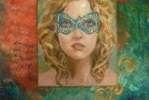 Obrazy ženy, ženy a tanec / Obrazy malované většinou akrylovými barvami na plátně, často s použitím tkanim a modelovací pasty pro dosažení struktury