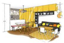 DELAUNAY / Optimisation et décoration d'un 2 pièces à Paris. Création d'une chambre cachée dans la pièce de vie. Coloré et peps!