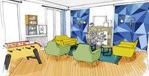 COURCEL / Projet d'aménagement d'un appartement dans le 16ème. Entrecroisement des espaces. Mobilier moderne et coloré. Ambiance cosy - baby foot!