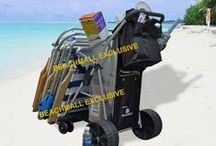 Beach Carts / Lots of items to carry, including your beach chairs, beach umbrella, body boards. You will need a large enough and sturdy beach cart. BeachMall.com has wide selection of beach carts. http://www.beachmall.com/category/beach-accessories.beach-cart/