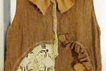 ткань и вязание/Entries / Ideas of combining fabrics and crocheting