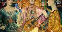 Ludmila curilova/ suvorova / Contemporary Russian Artist. A lot of colour and fantasy.  Extroardinary use of colour and gold leaf.