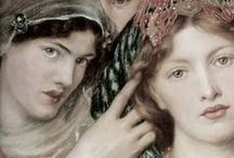 Pre-Raphaelite Artists - PRB / A Group of English  Poets, Painters calling themselves Pre-Rhapaelite Brotherhood eg, Frank Dicksee, Rosetti formed in England