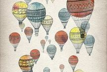 illustrations / Illustrations of skylines, animals and patterns, hot air balloons, vintage camera and typewriters, tea and trees cloaking wolves. Find inspiration for your art.