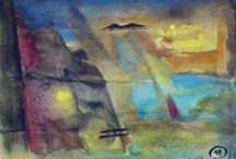 Arte - collage e pittura zen / dipinti su carta con inserimenti di collage