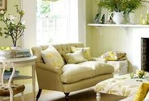 Decorating Ideas for Celery green sofas / I inherited beautiful new sofas, however they are celery green.  how to utilize until I can re-upholster.... / by Courtney Drummy