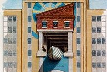 Mural Sketches - John Pugh / Concept drawings and sketches for some of John Pugh's trompe l'oeil murals. Some of these came to fruition and became murals, others did not.