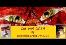 Cat WM 2014  https://manuelmykonos.com / Cat WM 2014 mixed media  by surrealist artist Manuel