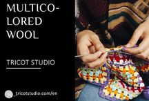 Multicolored wool / Creations, Examples, Conception, Models, Balls, Wools, Multicolored fabric, colored, varied...