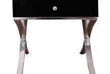 Modern Classic Black Glass & Chrome Legs Barcelona Bedside/Side Table