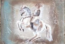 Sandra Beaulieu Equine Art & Design / I love to express the spirit of the horse with minimal lines. My artwork is constantly evolving and I enjoy every stage of learning. Two years ago I was inspired to create art on horseback and my idea has finally come to life! Rovandio and I are the first horse and rider combination to create paintings together.Visit my website to view my art gallery, learn more about Art on Horseback, and for more information on logo design. http://beginthedance.com