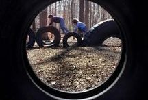PLAY: tyre play parks / How many ways can a tyre be used for playing?  Ideas on tyre play constructions and how to get kids climbing, bouncing, moving and being creative most often in the outdoors!