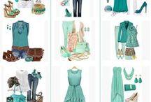 Mood board for lovely springie girlie / Salaiseni on ajaton tiimalasi, väriltään lämmin kevät. Asu ja väri-ideoiden lisäksi taulusta löytyy kaavoja vartalonmallille (niiden mallikuvien värit eivät tosin välttämättä sovi kevään väreihin)