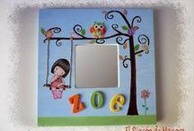 Cuadros y espejos infantiles (By Manora) / Cuadritos y espejos para habitaciones infantiles