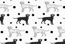#spoonchallenge 2014 / Spoonflower 12-days of design challenge Dots and dogs. Blacks and whites. #spoonchallenge
