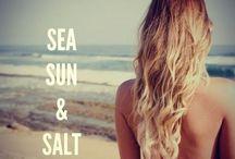 Summer: Hair gets lighter, skin gets darker, water gets warmer, drinks get colder, music gets louder, nights get longer, life gets better. <3 :D / Sun Sea Salt / by Becca xoxo