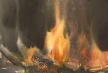 Feuer / Feuer - eines der 4 Elemente & ein Symbol lebensschaffender & lebenszerstörender Mächte. In den Mythen der Jäger- & Hirtenvölker wurde das Feuer meist vom Himmel herunter geholt, im Pflanzertum dagegen findet sich die Herkunft aus dem Erdinneren.