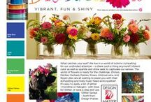 Distraction- Vibrant, Fun and Shiny! / Get your Free 2016 Trend Report- www.uBloom.com/Trends2016 What catches your eye? We live in a world of notions competing for our undivided attention- Vibrant colors, sparkle & shine captivate our senses.  Zinnias, Dahlias, Gerbera Daisies, Roses, Alstroemeria, and Royal Lilies are all waiting to assist you with their stimulating and lively hues. Need extra Sparkle? It's easy to apply a bit of glitter... with Glue for Glitter or Glitter Sprays both from Design Master.