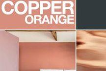 """Kleurtrend 2015: Koper / Copper Orange / Warme tinten voor 2015! Colorfutures 2015: """"Koper-orange is een kleur die  goed combineert met roze varianten, natureltinten, wit en verschillende andere soorten oranje. Goudkleurige oppervlakken en natuurlijke houtnuances staan er al even mooi bij.""""  Warm and surprising, Copper Orange reflects a more positive outlook on the world while representing a new emphasis on the concept of sharing."""