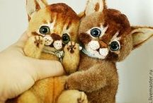 NatalyTools artist Teddy's friends / cats, dogs, hares, teddy, teddy bears,  mouse, art doll, cat, kittens, rabbit, fox, toy, alice in wonderland, present, кукла, мишка, кошка, кот, заяц, кролик, енот, лис, лиса, лисенок