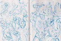 All my gesture work in one place / I do gesture drawings everyday now. It's neat to see what they look like all stacked next to each other.   Gesture Drawing is meant to convey the motion of a figure or form. It uses flowing lines and forms to convey poses and action.   You can see a lot more of my work on: http://fantasyart365.wordpress.com/