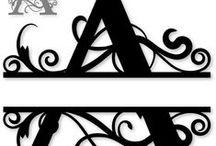 Monogram split letters alphabet / Sierlijke split letters