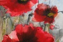 Watercolour - Poppies