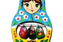 Russian Hand Painted Wooden Fridge Magnets / Hand painted wooden refrigerator magnets as baby shower favors, party favors, babushka shaped, animal magnets etc / by GreatRussianGifts.com