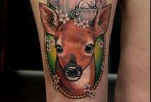 deer tattoos / I don't want to earn my living; I want to live. ~ Oscar Wilde