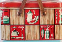 Vintage Tin / Mid Century Tin Ware from the 30s to the 70s. Picnic Baskets, Trays, Biscuit Boxes, Tea Caddies