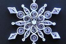 Paper Quilling snow (ペーパークイリング・雪の結晶) / ペーパークイリングは細い紙を丸めてつくるペーパークラフト。 雪の結晶(六花・六華)モチーフ 切り絵の雪のモチーフなど。