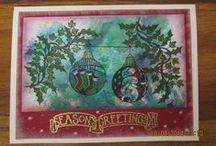 My Christmas card creations / Made using Clarity stamps & stencils & various mediums