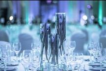 Blue themed decorations / PGF Gala in PKiN in Warsaw