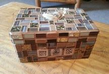 Own stuff / My own mosaics, decoupage, canvases, templates and recycled items.